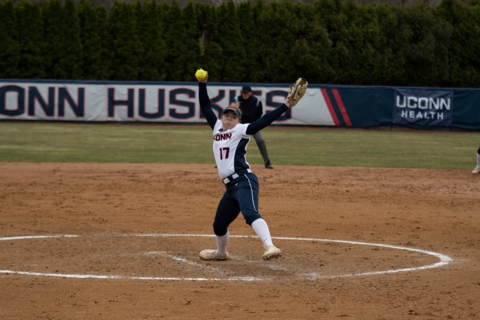 The UConn softball team got swept last April on their road trip to Texas, dropping three straight to Houston. Softball's Marybeth Olson had a nearly perfect campaign from the circle in 2020, finishing with a 10-0 record.  Photo by Eric Wang/The Daily Campus