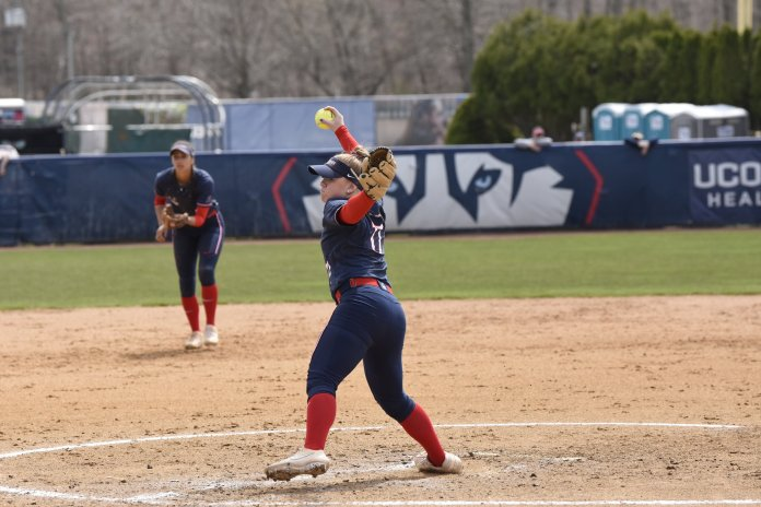 UConn softball plays against the University of South Florida last year, finishing in a 1-0 loss. Olson gave up just 13 runs in a shortened 2020 season, finishing with a 1.46 ERA.  Photo by Brandon Barzola/The Daily Campus