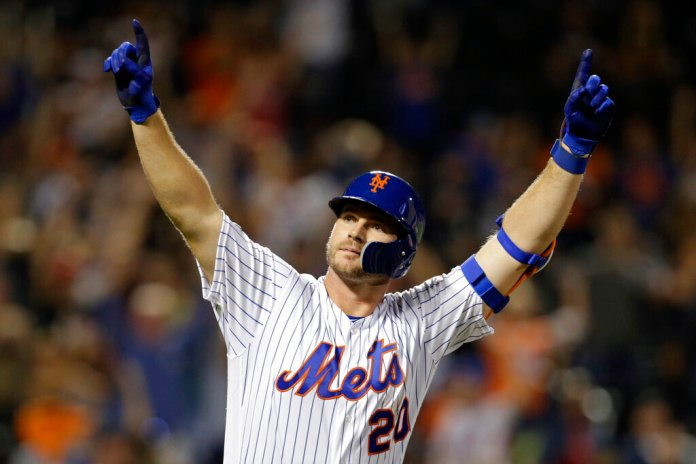 New York Mets' Pete Alonso celebrates after hitting his 53rd home run of the season during the third inning of a game against the Atlanta Braves in New York last year.  Photo by Adam Hunger/AP