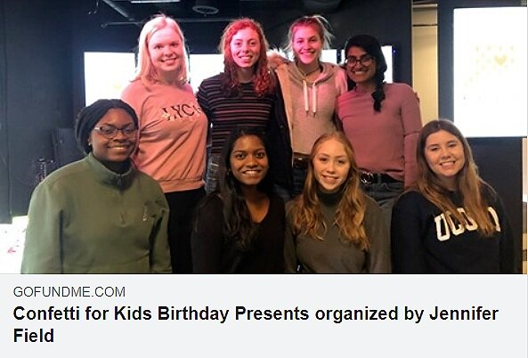 UConn's Confetti for Kids is raising money to help children in foster care. The organization is hoping to raise $350 so these children can celebrate their birthdays in these difficult times.  Screenshot from Confetti For Kids Facebook.