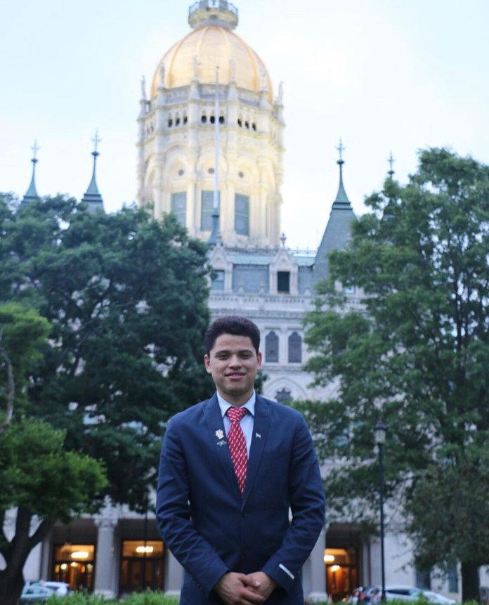 UConn's Michael Hernandez was recently named as one of the 2020 cohort of the Newman Civic Fellows. Hernandez is a sophomore double majoring in economics and political science.  Photo via UConn Undergraduate Office of Research.