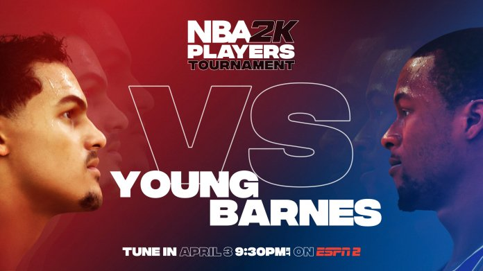 Trae Young and Harrison Barnes met in game No. 3. An 11-0 run to start the game gave Young a lead he would never give up, winning with a final score of 101-59.  Photo via Twitter @NBA2k.