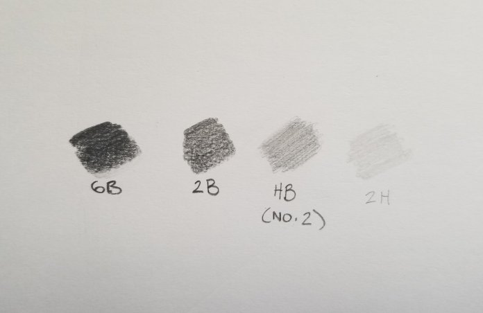 An example of what the different pencils look like on paper and the value differences between them. You can see how the 6B looks softer and smoother than the 2H.  Photo provided by the author