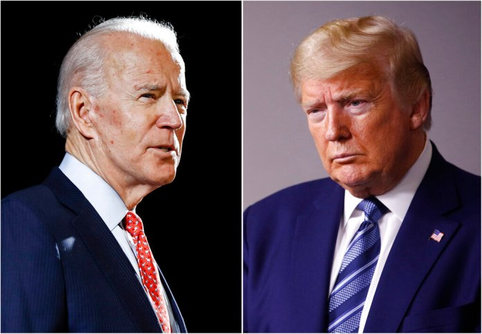 Former Vice President Joe Biden speaks in Wilmington and President Donald Trump speaks at the White House in Washington. Early polling in the general election face-off between Trump and Biden bears out a gap between the two contenders when it comes to who Americans see as more compassionate to their concerns.  Photo by AP , File