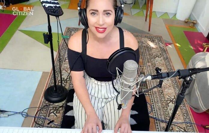 Lady Gaga hosting the Together at Home concert.  Image via    Global Citizen