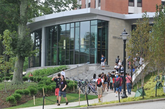 File Photo - Students entering and leaving McMahon Dining Hall. The People for the Ethical Treatment of Animals has called on UConn to take action to stop experimentation with animals.  (File Photo/The Daily Campus)