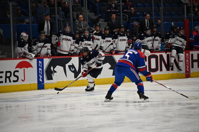 """UConn men's hockey tied No. 12 UMass Lowell 3-3 in the XL Center in November. The Huskies found their rhythm and took 32 shots during the match. """"I thought our team did a great job all night,"""" Wyatt Newpower said.  Photo by Kevin Lindstrom/The Daily Campus"""