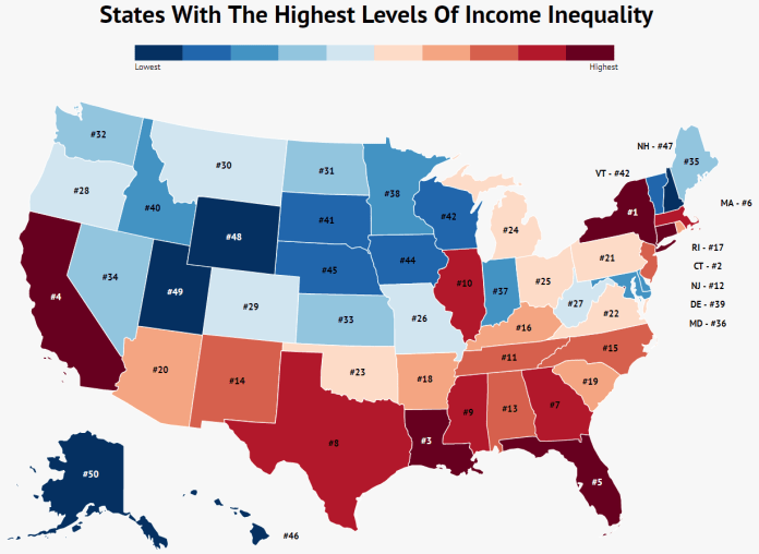 This 2018 graphic lists Connecticut as the state with the second most income inequality.  Graphic courtesy of    CNBC