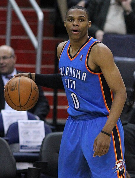 Russel Westbrook for the Oklahoma City Thunder in 2011.  Photo in the    public domain