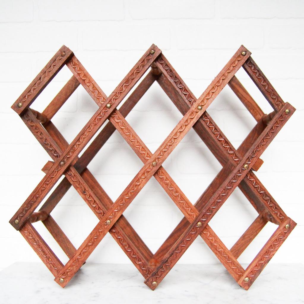 wood accordion wine rack vintage home decor portland oregon left coast revivals