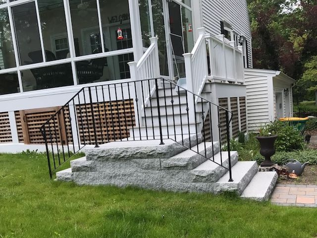 Entrances And Steps Landscaping In Ma — Natural Path Landscaping | House Main Entrance Steps Design | Half Round | Landscape | Outside | Garden | Front Construction Area House