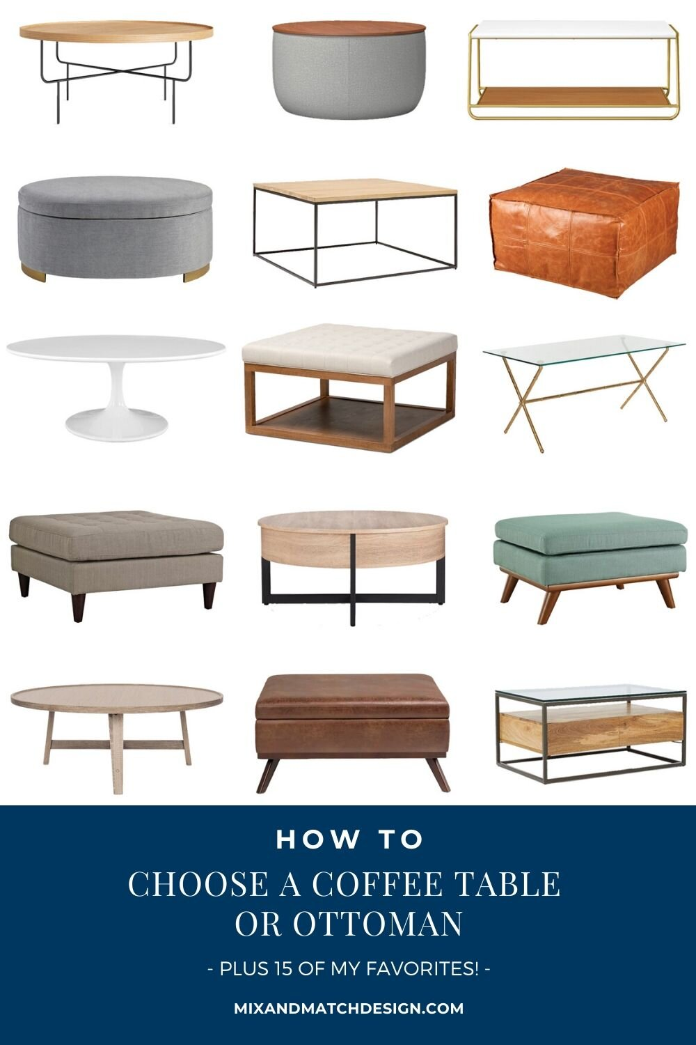 how to choose a coffee table or ottoman