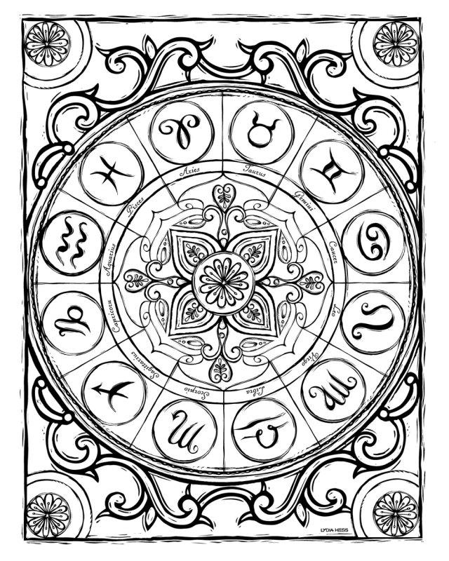 Sacred Heavens Zodiac Coloring book — Lydia Hess Illustration & Design