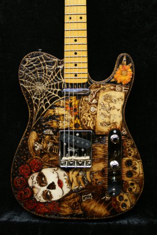 Image result for dia de los muertos floral electric guitar