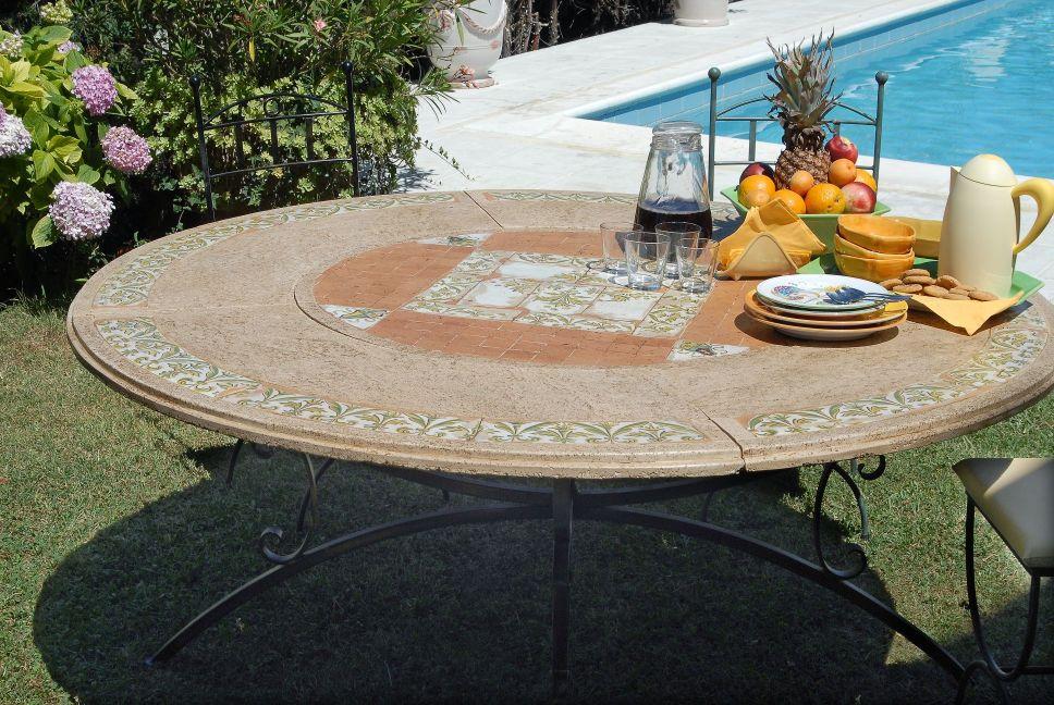 Scopri la collezione · tavoli in travertino. Italian Deruta Sorrento Travertine Stone And Reclaimed Tiles Top With Exterior Finish Base Bellini S Antique Italia