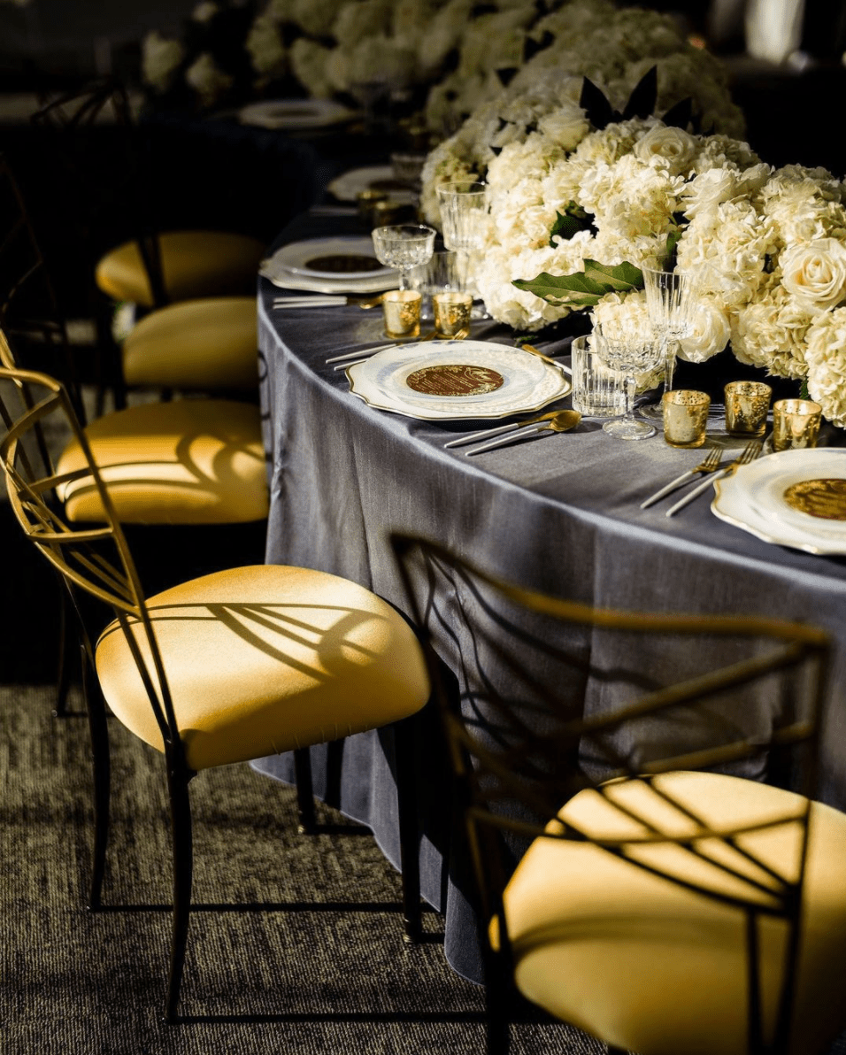 Yellow and Gray Reception Table from CORT Party Rental , image by Alante Photography