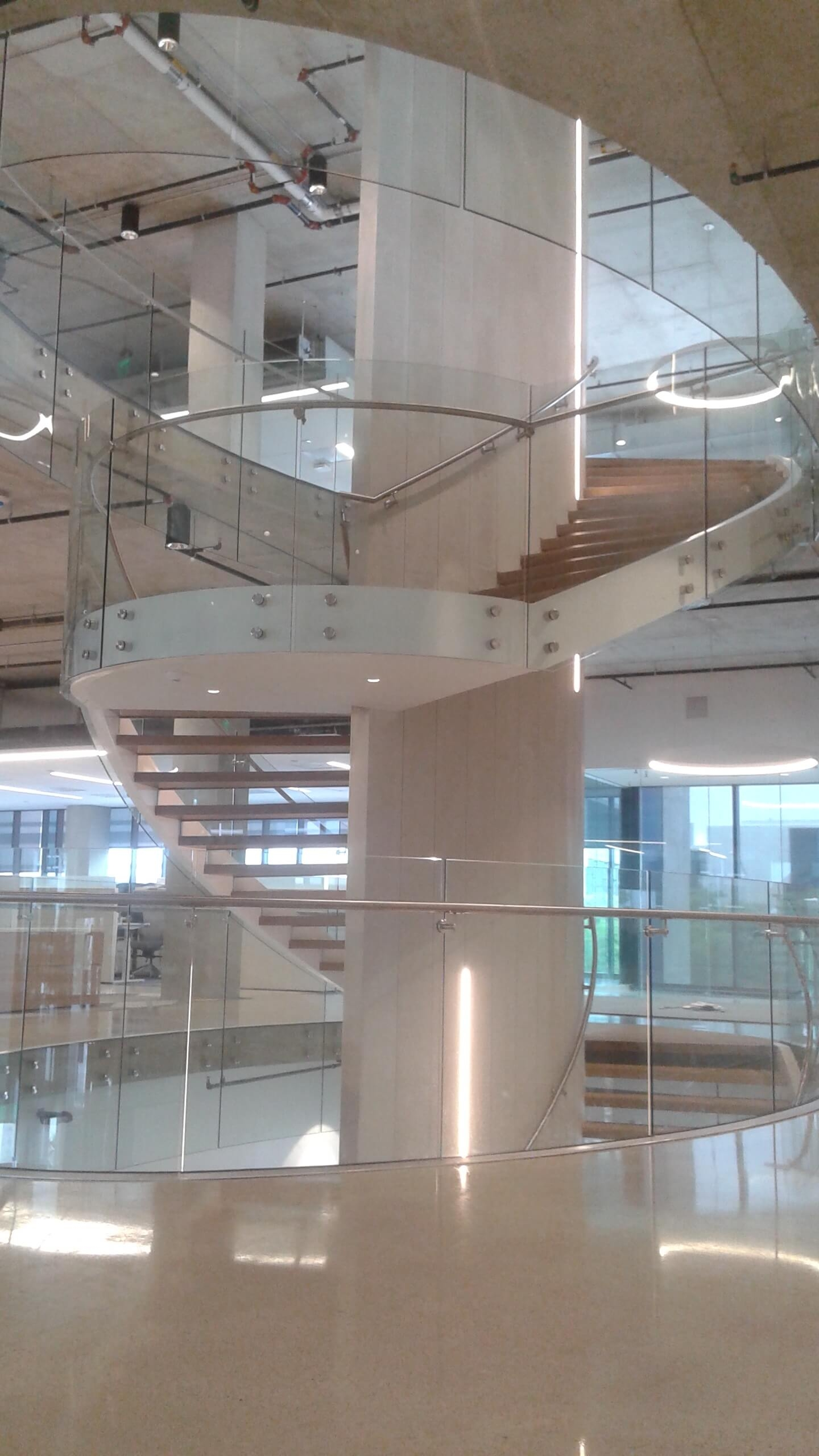 From The Field Curved Glass Point Supported Spiral Staircase   Spiral Staircase With Glass Railing   Metal   Residential   In India Staircase   Contemporary Glass   Thin Glass