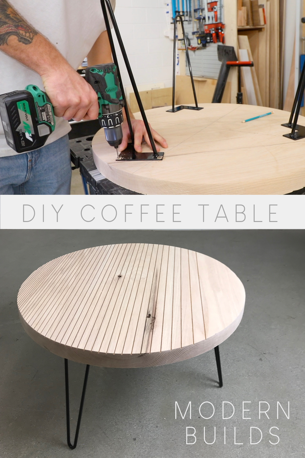diy round patterned coffee table