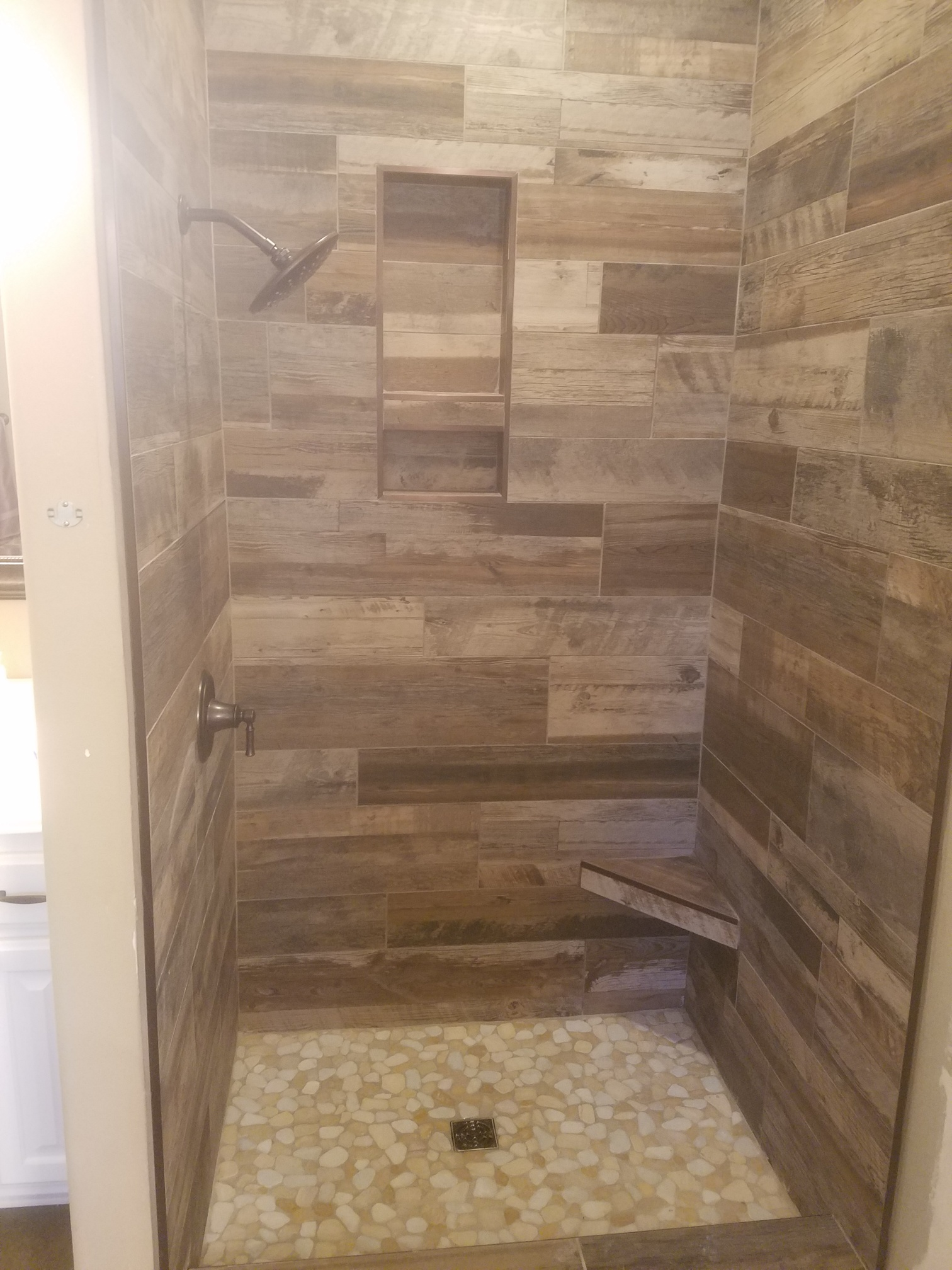 wood look tile shower hendricks