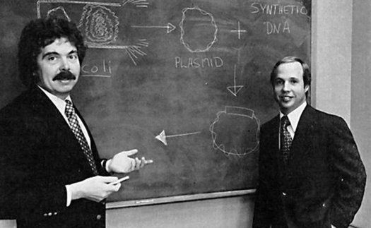 Genentech founders Herb Boyer (L) and Bob Swanson (R)
