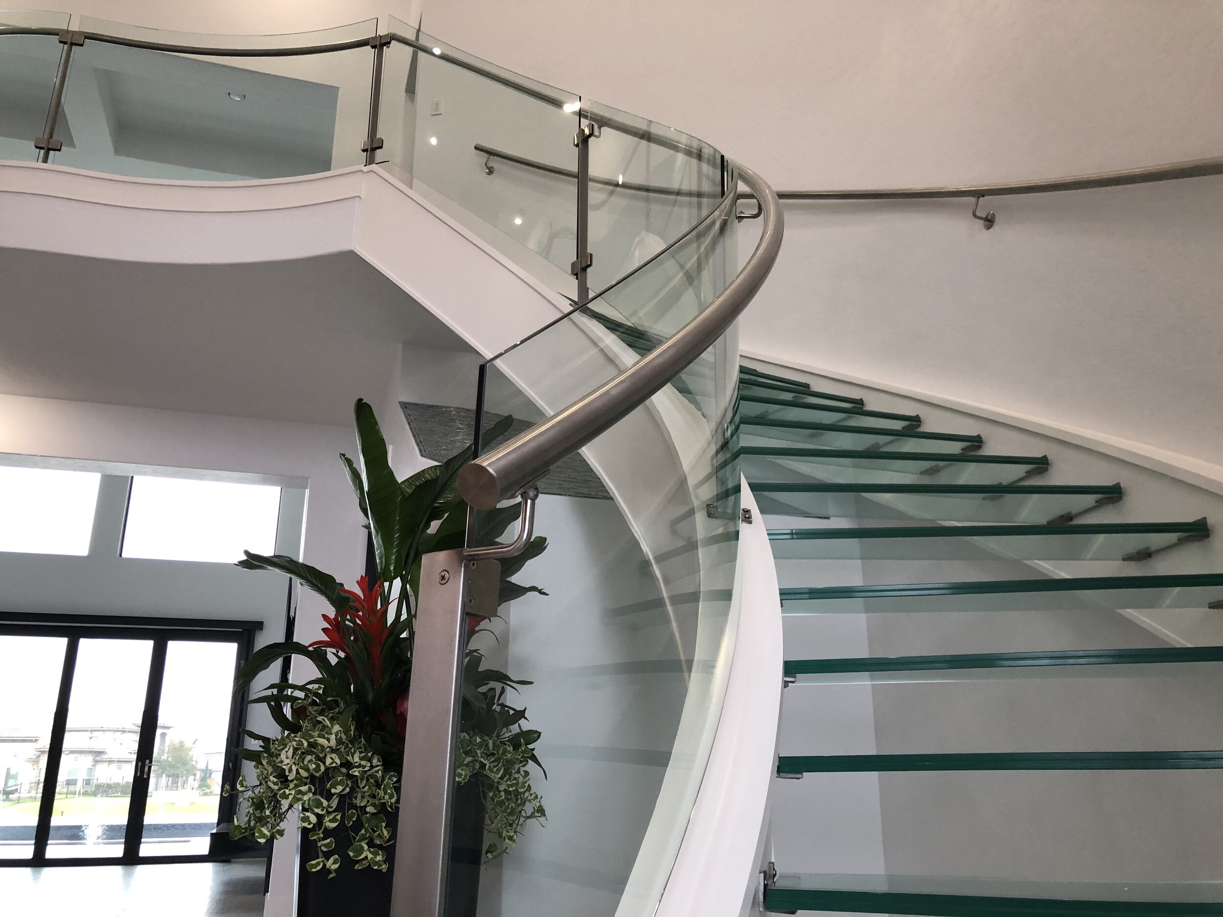 Houston Stair Company Inc | Glass Hand Railing Design | Fancy | Street Railing | Commercial | Outdoor | Glass Etching