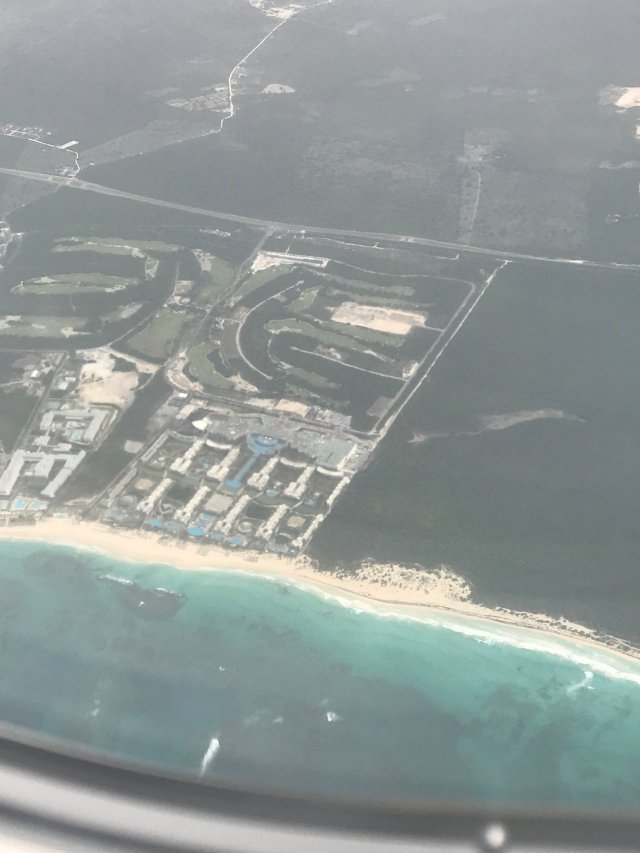 Aerial view of the resort. I found it from the plane! Do you see the pools?