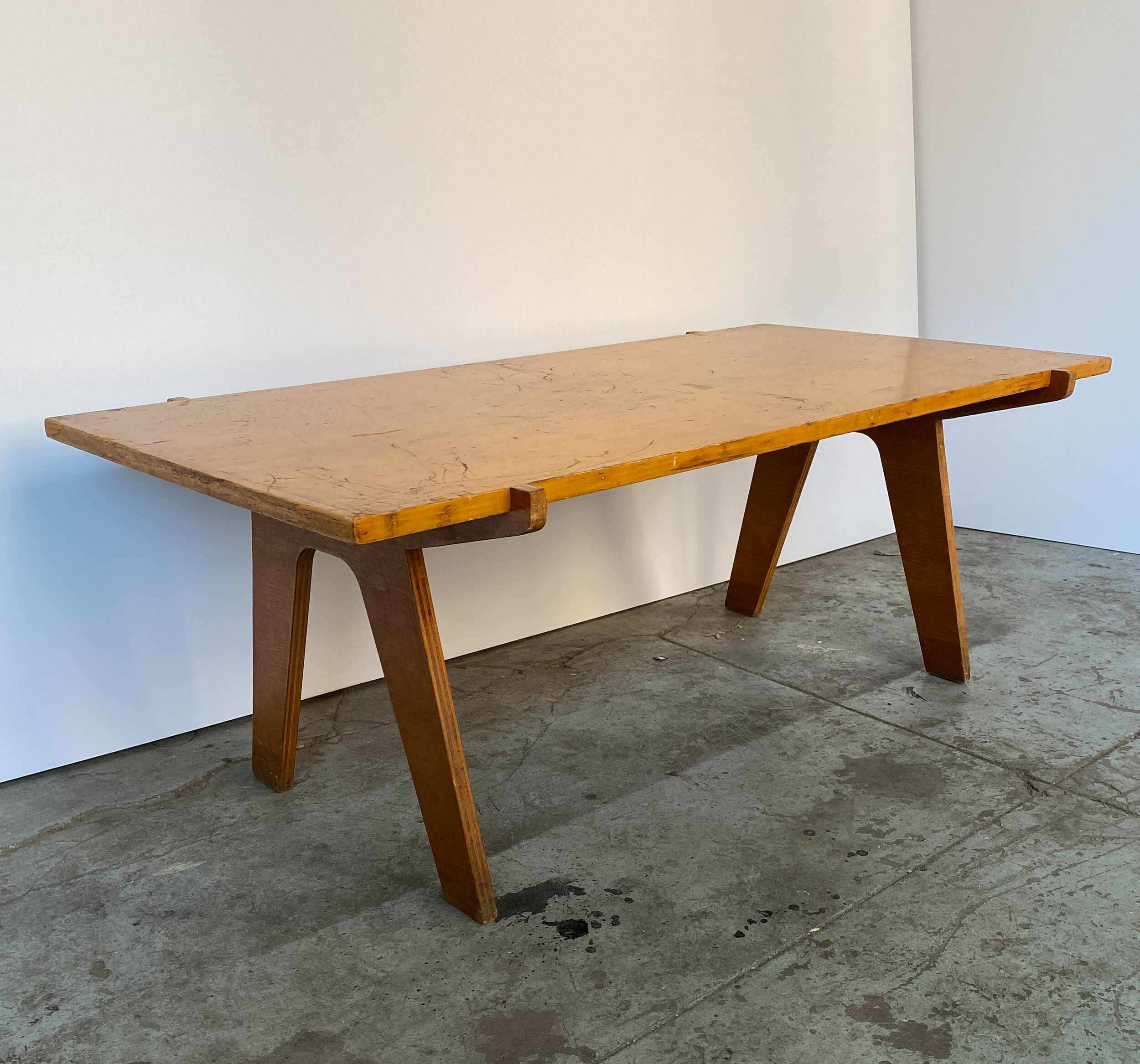 architectonic cut plywood mid century cocktail table weinberg modern
