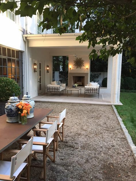rustic modern pea gravel patio
