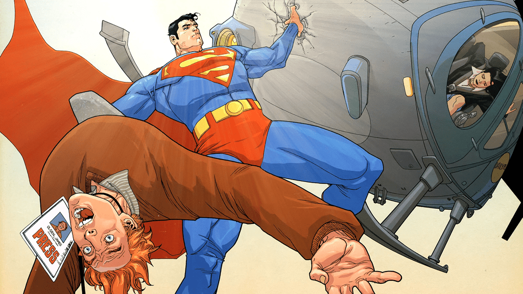 Superman catches Jimmy as he falls out a helicopter by the foot, and catches the helicopter in the other hand.