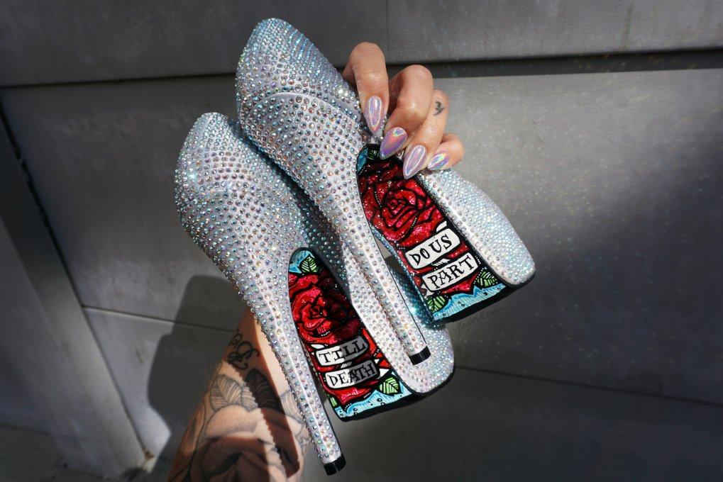 Custom printed wedding heels by Taylor Reeve