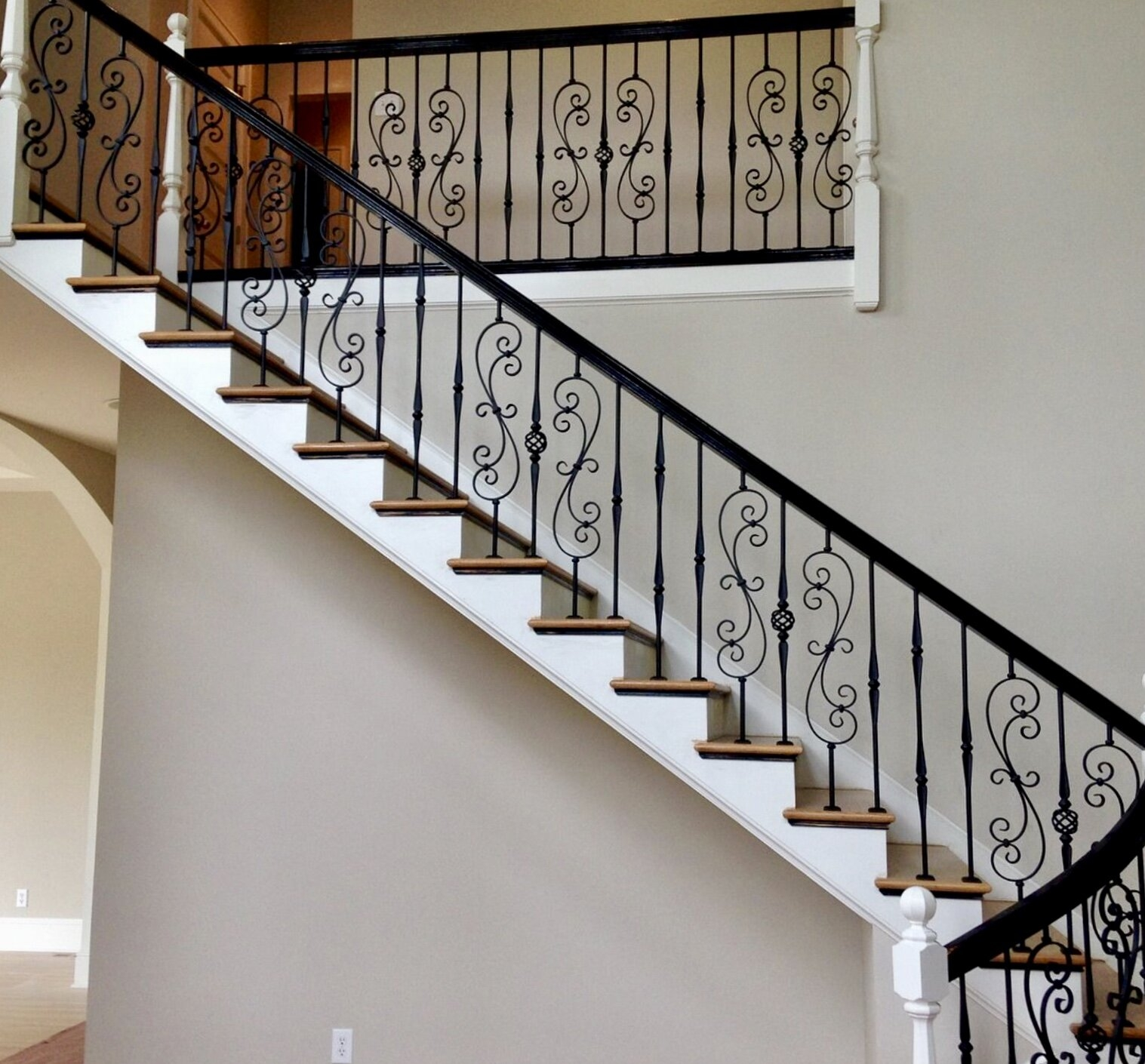 Wrought Iron Balusters Charlotte Nc Stair Railings   Wrought Iron Stair Railings Interior Cost   Stair Parts   Iron Staircase Railings   Rod Iron Balusters   Wood   Stair Spindles