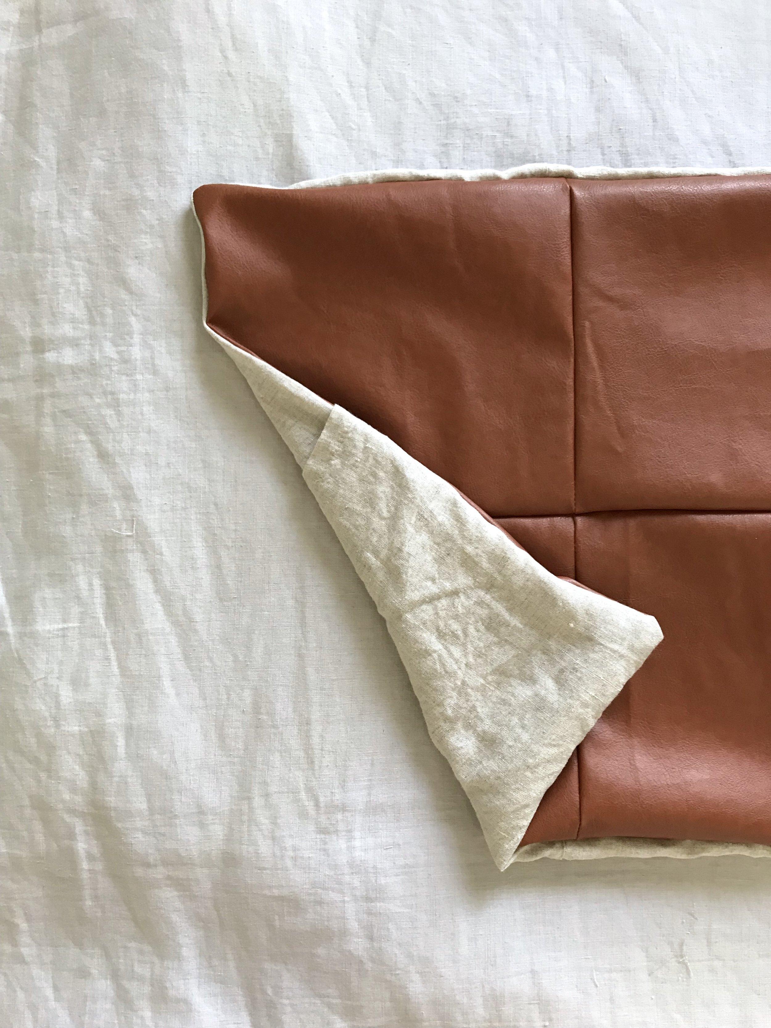 diy faux leather panel pillow case