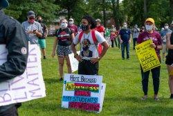 Ras Heru Stewart Teachers for Black Lives Matter March and Rally, Maplewood, New Jersey Photo by Joy Yagid