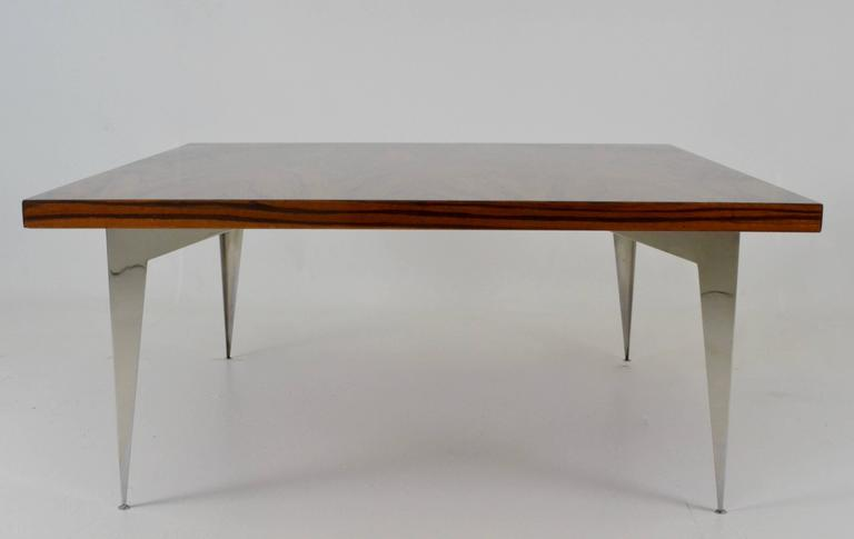 modernist exotic wood and steel cocktail table circa 1970s awk