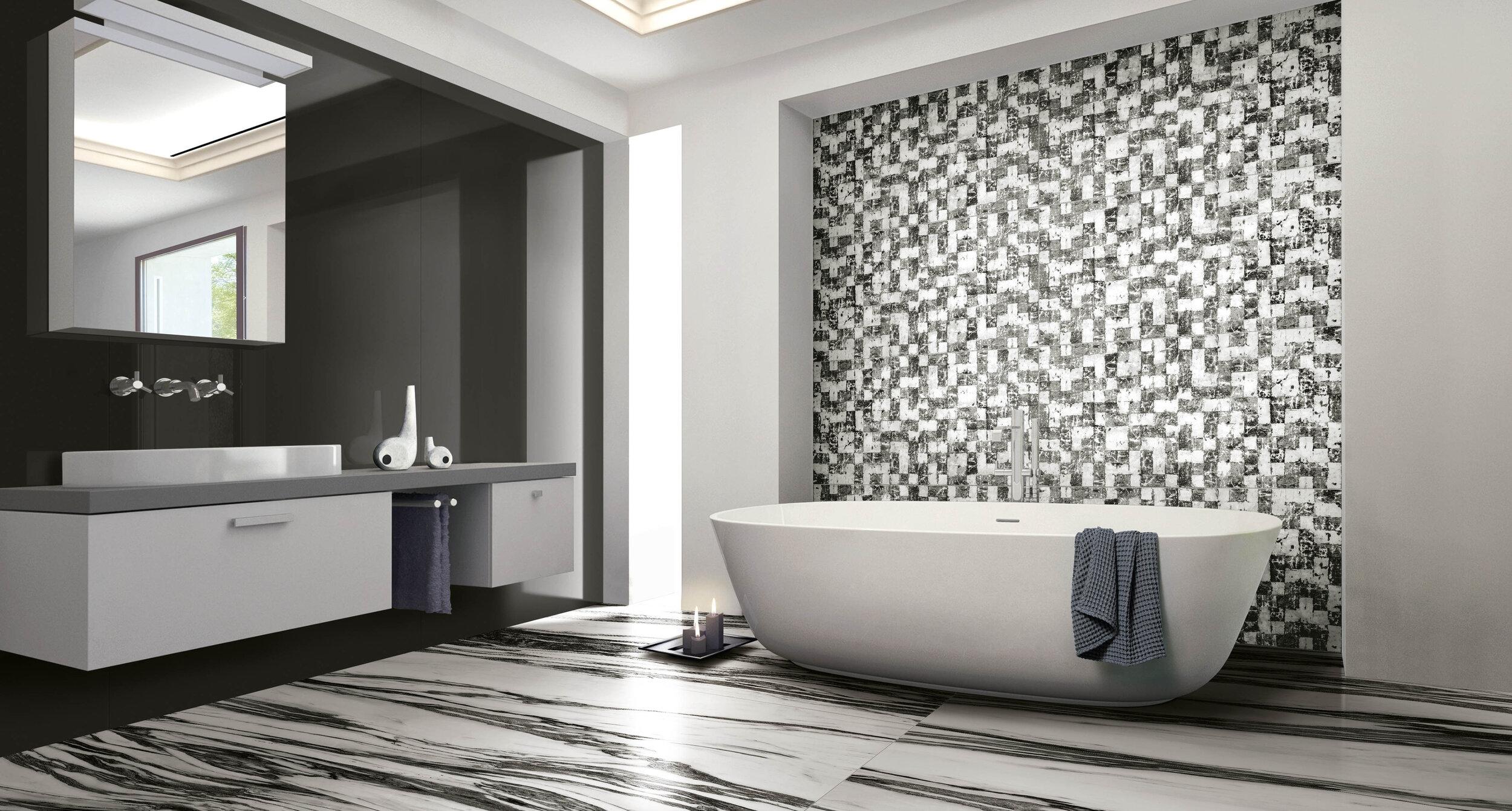 b w marble coastal tile