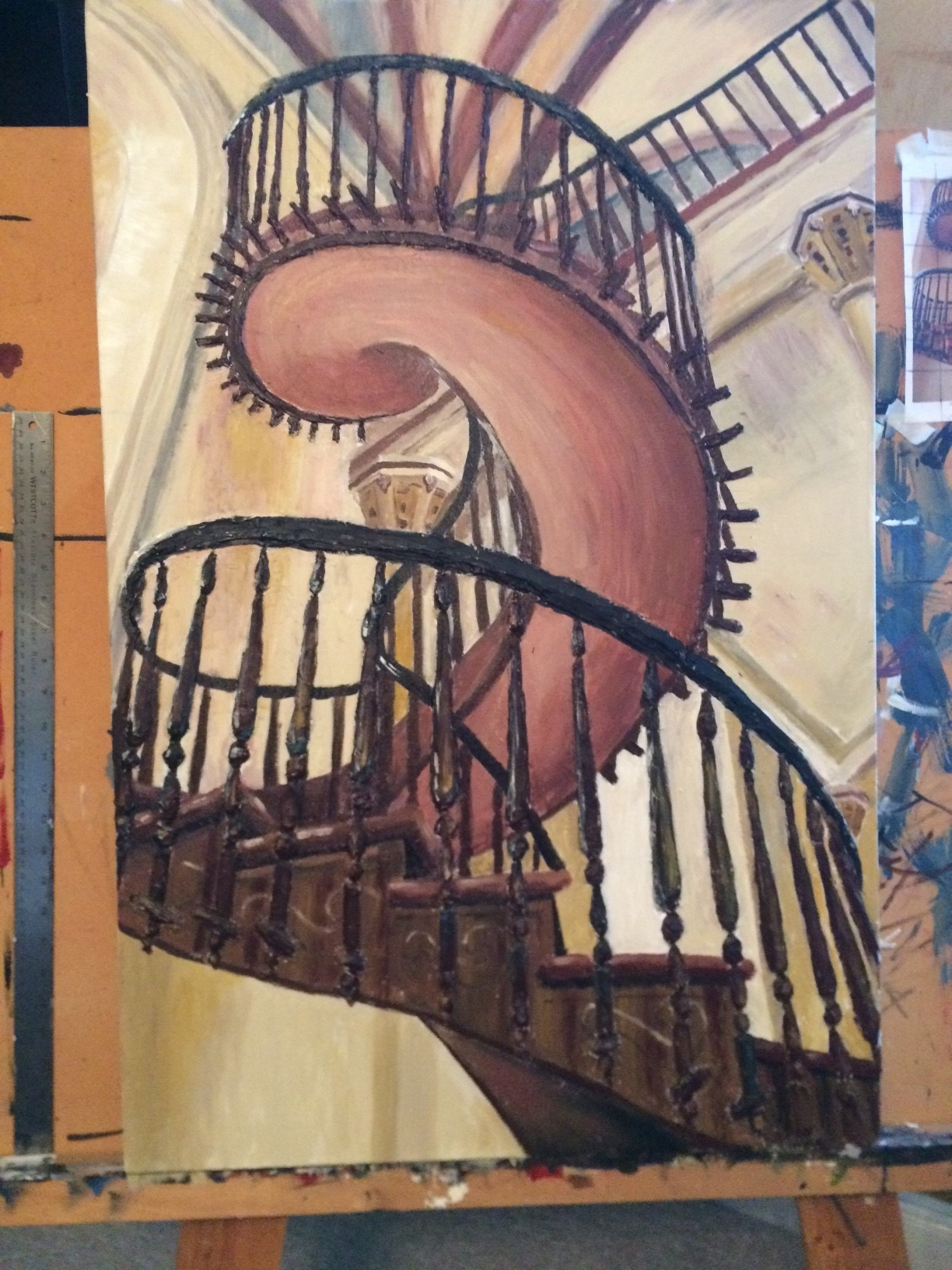 Sculptural Painting Of Spiral Staircase Progression — Creative   Painting Metal Spiral Staircase   Stair Case   Staircase Kit   Stair Railing   Powder Coating   Spray Paint