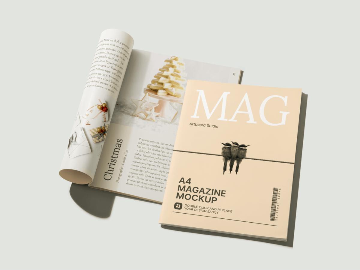 The best online mockup generator. Perspective A4 Magazines Mockup Scene