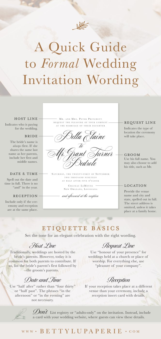 Formal Wedding Invitation Wording Fl