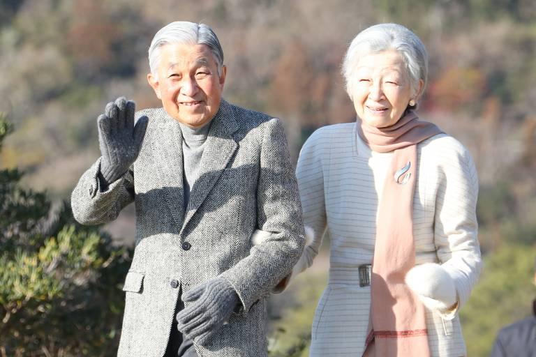 Kaiser Akihito und Kaiserin Michiko feiern ihren 60. Hochzeitstag.  ©Imago