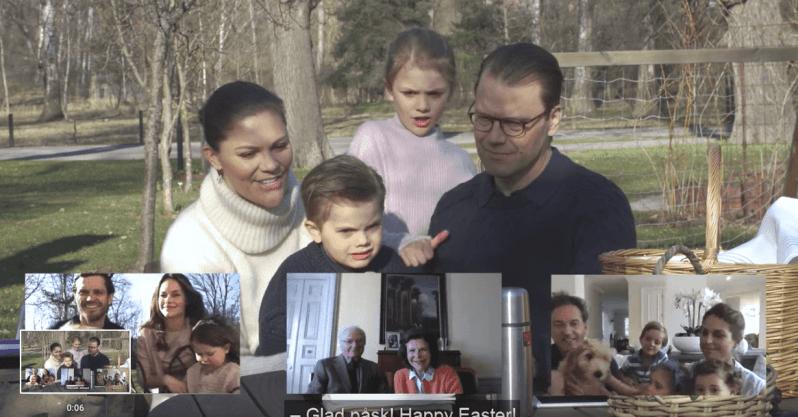 Kronprinzessin Victoria, Prinz Daniel, Prinzessin Estelle und Prinz Oscar sprechen vom Garten von Schloss Haga per Videochat mit ihrer Familie.  © Kungahuset