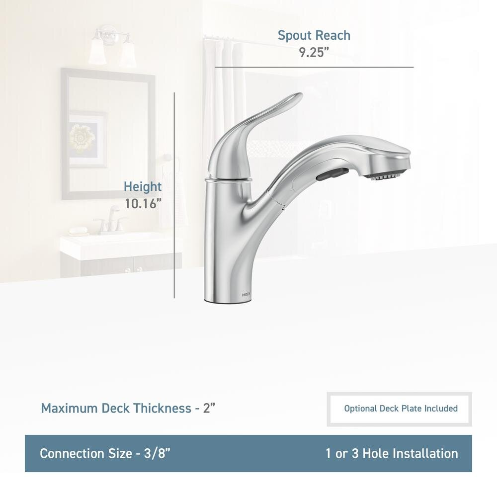 moen brecklyn single handle pull out sprayer kitchen faucet with power clean in spot resist stainless williamsburg plumbing company