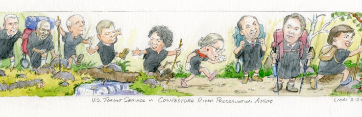 The Supreme Court justices hiking the Appalachian Trail as depicted by courtroom artist, Art Lien.