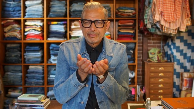 "Episode 104 ""Denim""  San Francisco, CA - Jeff Goldblum in front of denim samples. (Photo: National Geographic/Asling Browne)"