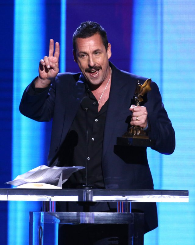 SANTA MONICA, CALIFORNIA - FEBRUARY 08: Adam Sandler accepts the Best Male Lead award for 'Uncut Gems' onstage during the 2020 Film Independent Spirit Awards on February 08, 2020 in Santa Monica, California. (Photo by Tommaso Boddi/Getty Images)