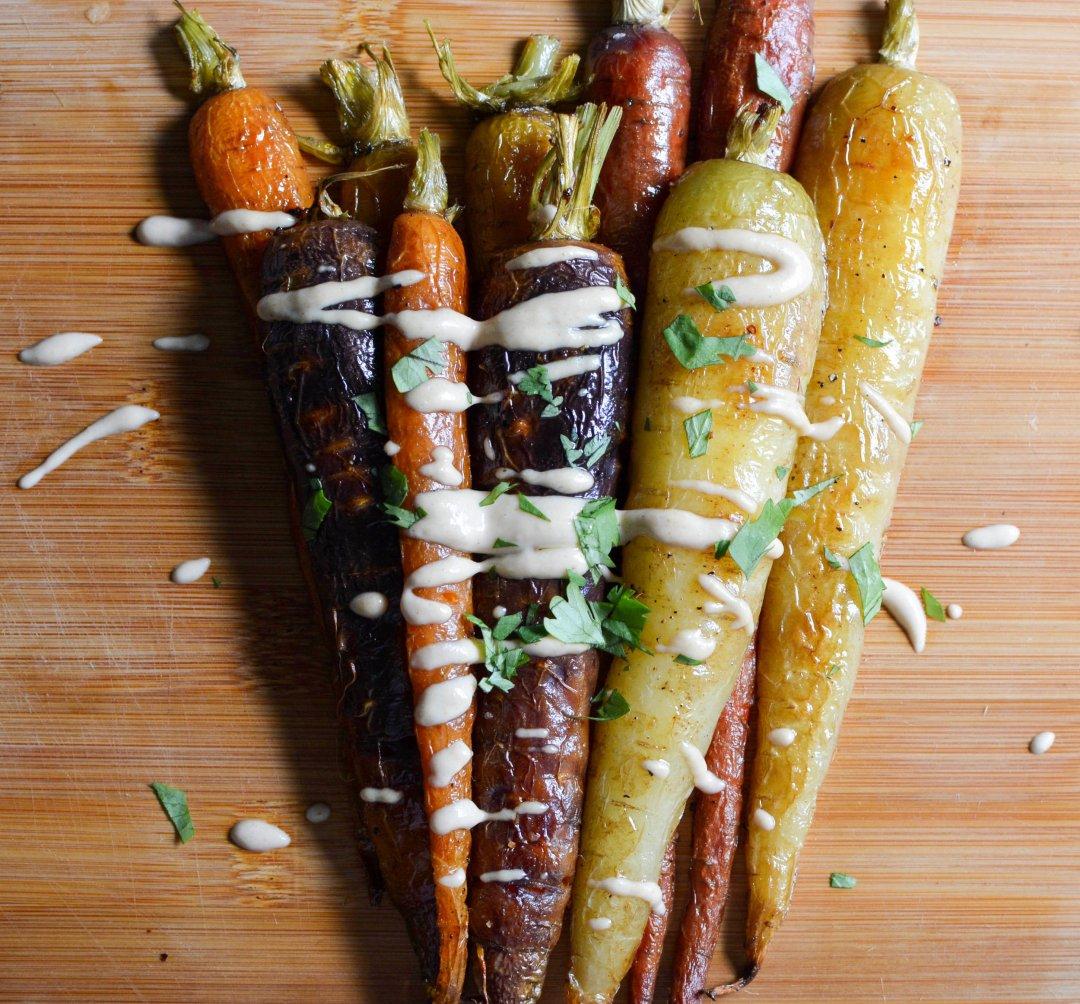heirloom carrots with lemon tahini dressing