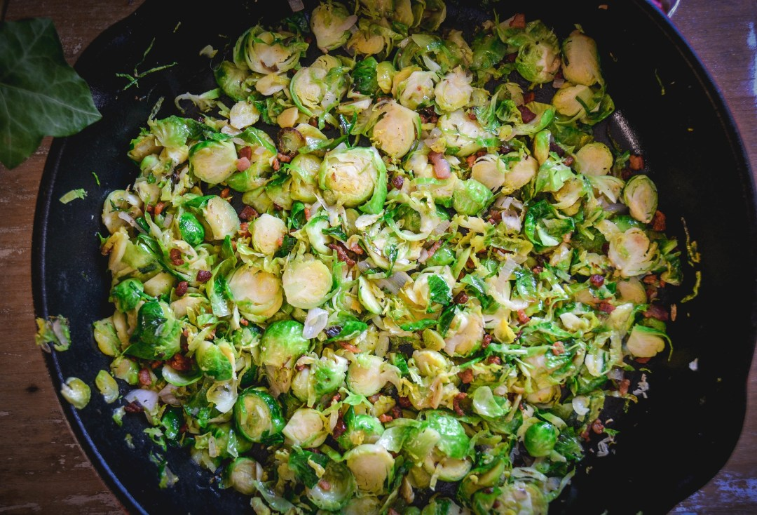 shaved brussels sprouts in pan