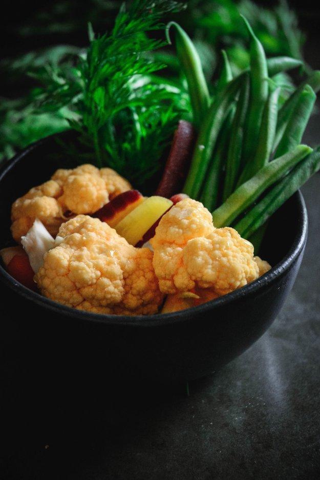 carrots, beans and cauliflower
