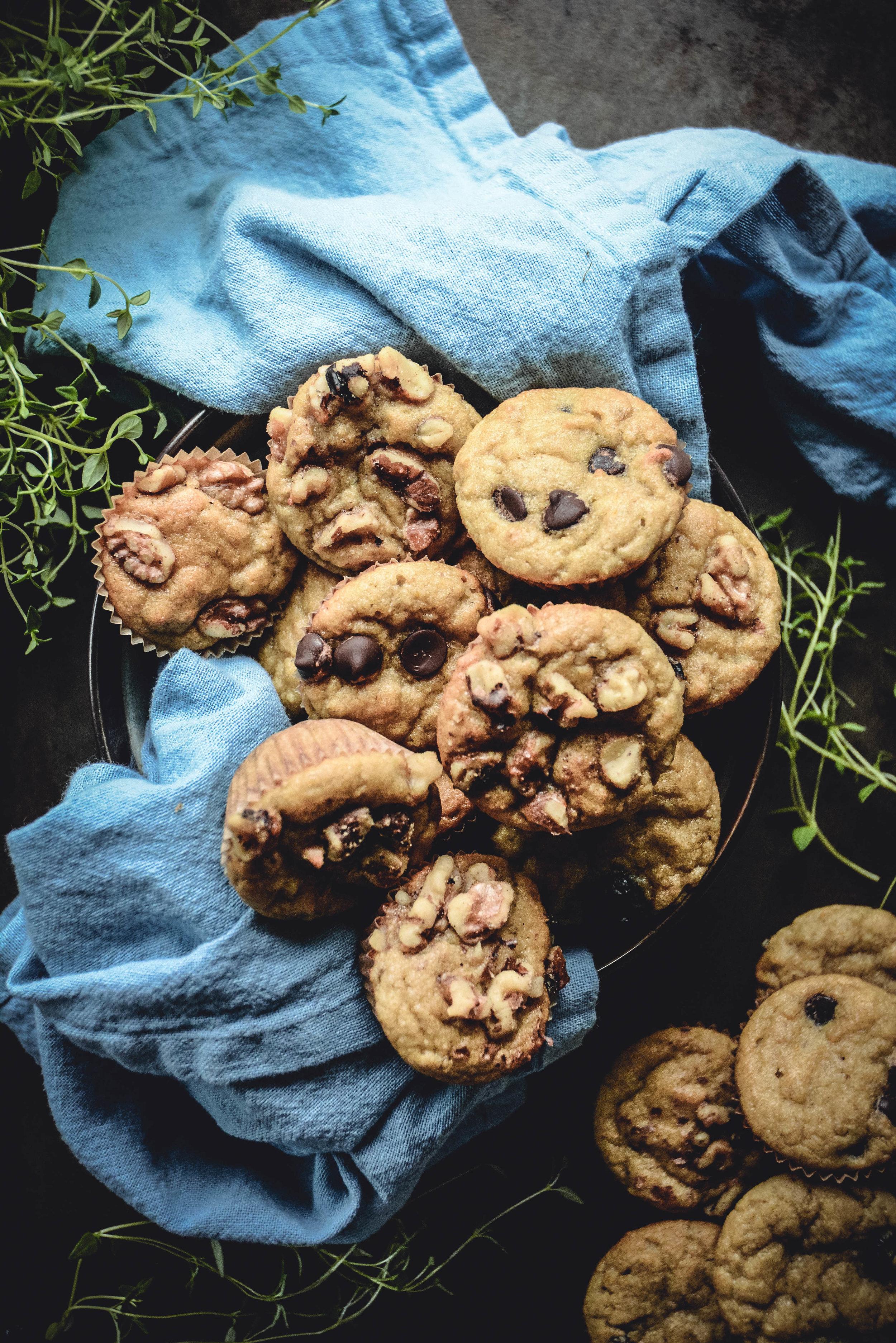 paleo collagen mini muffins on blue napkin