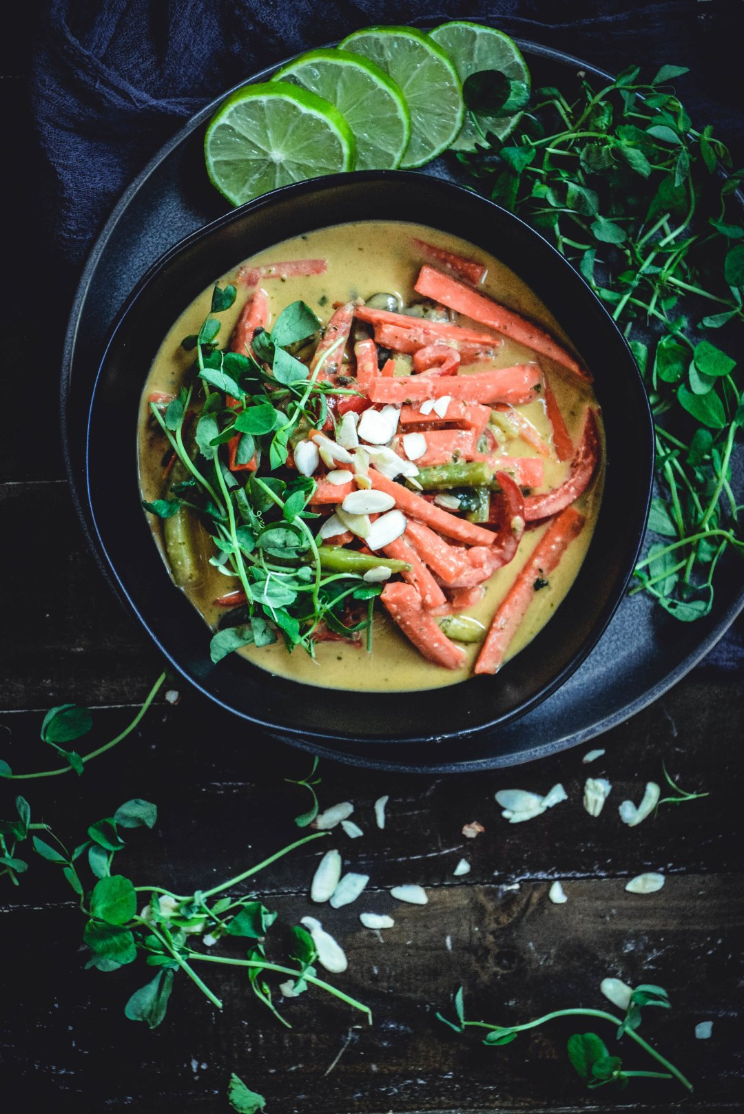 vegetable coconut curry, lime and cilantro greens