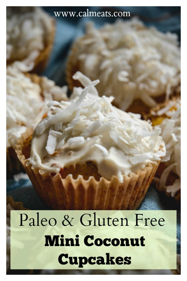 Here is an easy way to make a delicious and impressive tiny cupcake the paleo way. These are sweetened with honey, grain free and topped with a creamy coconut frosting and topped with shredded coconut. Click to find out more! #cupcakes, #paleocupcakes #grainfreecupcakes #glutenfreecupcakes #paleodesserts #glutenfreedesserts #calmeats #grainfree #glutenfree #dairyfree #refinedsugarfree #naturallysweetened #honeysweeteneddesserts #nosugar